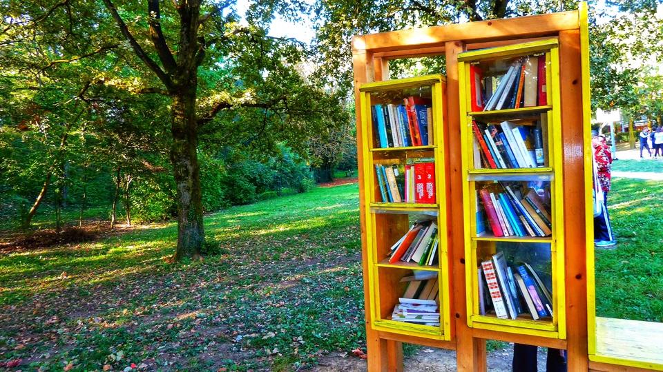 Libri della libreria libera al BookCrossing zone di Rivalta